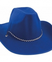 Carnavalskleding blauwe cowboyhoed volwassenen