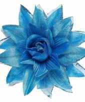 Carnavalskleding blauwe hawaiibloem haar
