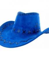 Carnavalskleding blauwe lederlook cowboyhoeden