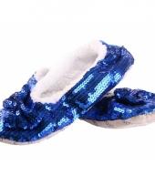 Carnavalskleding blauwe sloffen pailletten