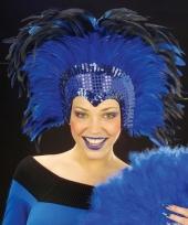 Carnavalskleding blauwe veren hoofdtooi deluxe