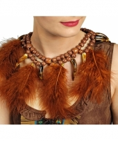 Carnavalskleding bruine indianen ketting veren