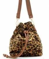 Carnavalskleding bruine zwarte luipaardprint schoudertas cross body tas bucket bag nel tijgervel