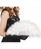 Carnavalskleding burlesque waaiers wit