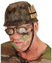 Carnavalskleding camouflage helm nep kogels