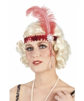 Carnavalskleding charleston hoofdbandje rood