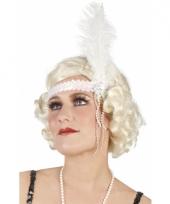 Carnavalskleding charleston hoofdbandje wit