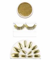 Carnavalskleding cosmetica set goud