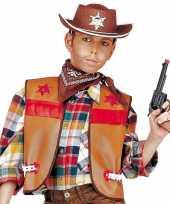 Carnavalskleding cowboy gilet kinderen bruin