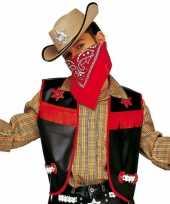 Carnavalskleding cowboy gilet kinderen zwart
