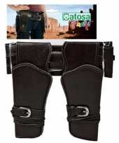 Carnavalskleding cowboy sheriff dubbele holster donkerbruin brede riem