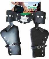 Carnavalskleding cowboyholster dubbel zwart wilde westen