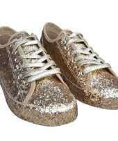 Carnavalskleding dames disco sneakers gouden glitters