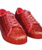 Carnavalskleding dames disco sneakers rode glitters
