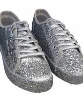 Carnavalskleding dames disco sneakers zilveren glitters