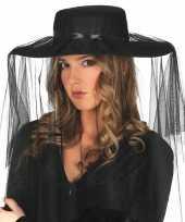 Carnavalskleding dames hoedje sluier zwart
