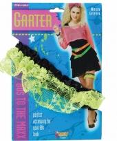 Carnavalskleding dames kousebanden groen kant