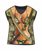 Carnavalskleding dames t-shirt leger print
