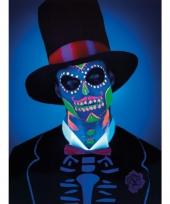 Carnavalskleding day of the dead schmink set neon skelet