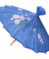 Carnavalskleding decoratie parasol china blauw 10089727