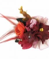 Carnavalskleding decoratiebloemen clip bordeaux