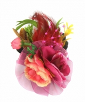 Carnavalskleding decoratiebloemen clip fuchsia roze