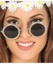 Carnavalskleding diamantjes feestbril ronde glazen