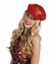 Carnavalskleding disco pet rood pailletten