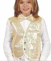 Carnavalskleding disco verkleed gilet goud pailletten kinderen