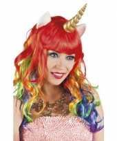 Carnavalskleding eenhoorn regenboog pruiken