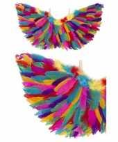 Carnavalskleding engel verkleed vleugels regenboog veren