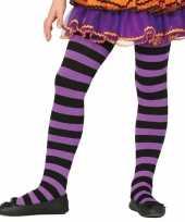 Carnavalskleding feest party gestreepte heksen panty maillot zwart paars meisjes