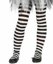 Carnavalskleding feest party gestreepte heksen panty maillot zwart wit meisjes