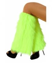 Carnavalskleding fel groene beenwarmers nep bont