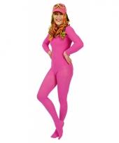 Carnavalskleding felroze panty bij body
