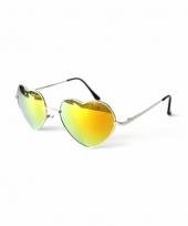 Carnavalskleding festival zonnebril gouden spiegel hartjes glazen