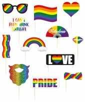 Carnavalskleding foto props setje regenboogkleuren pride selfies stuks