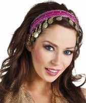 Carnavalskleding fuchsia roze verkleed feest buikdanseressen hoofdband diadeem dames volwassenen