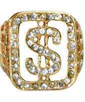 Carnavalskleding gangster gouden ring diamanten