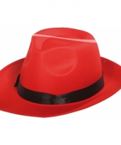 Carnavalskleding gangster hoed rood zwarte band