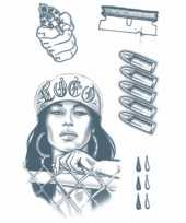 Carnavalskleding gangster tattoo set vel