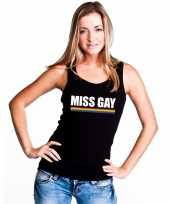 Carnavalskleding gay pride lesbo tanktop shirt zwart miss gay dames