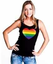 Carnavalskleding gay pride mouwloos shirt regenboog vlag hart zwart dames