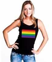 Carnavalskleding gay pride mouwloos shirt regenboog vlag zwart dames