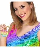 Carnavalskleding gekleurde hippie verkleed ketting peace
