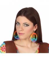 Carnavalskleding gekleurde peace oorbellen