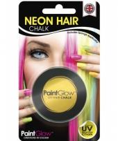 Carnavalskleding gele uv hairchalk