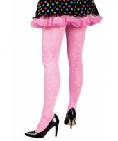 Carnavalskleding gestipte dames panty roze