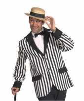 Carnavalskleding gestreept jasje heren zwart wit