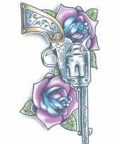Carnavalskleding geweer tattoo paarse rozen